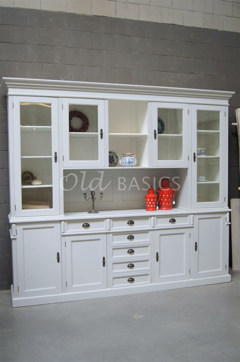 Buffetkast Grand, 4 deuren, RAL9018, wit, grijs, materiaal hout