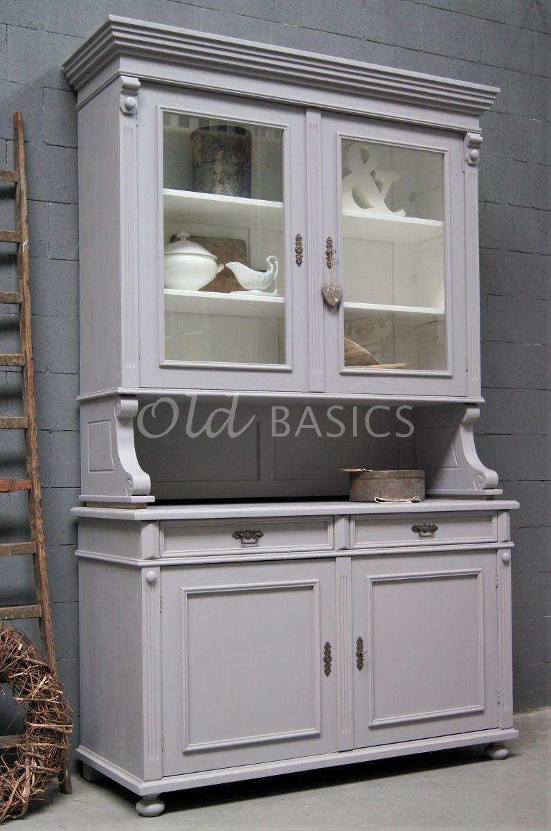 Buffetkast Deux, 2 deuren, RAL7036, grijs, materiaal hout