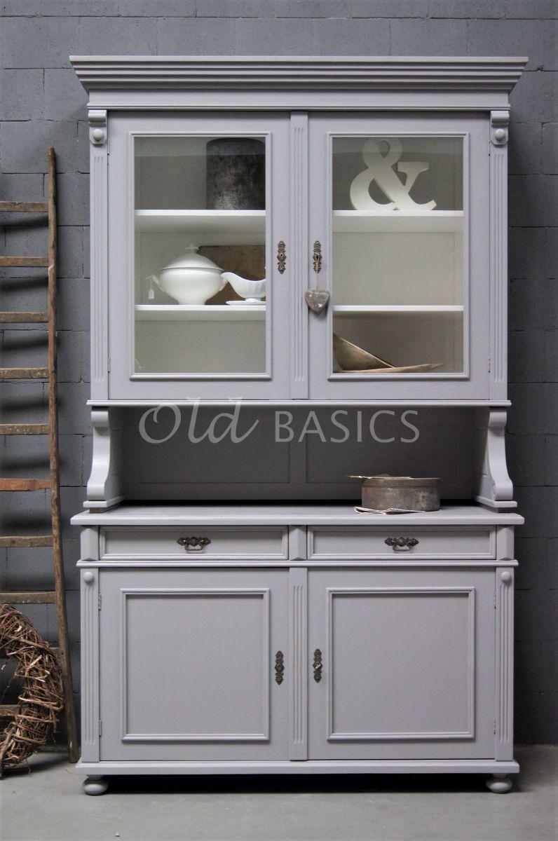 Detail van Buffetkast Deux, 2 deuren, RAL7036, grijs, materiaal hout