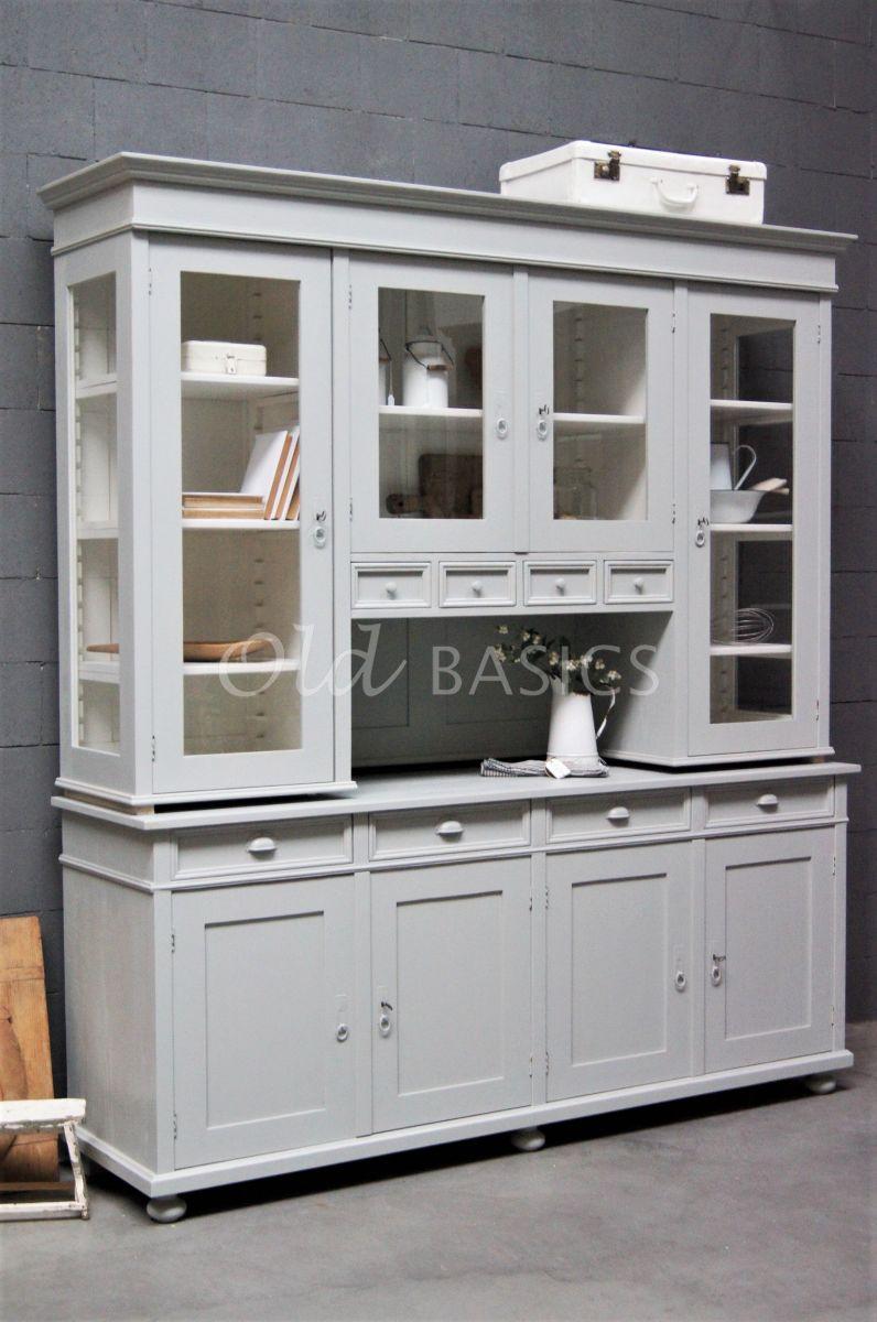 Buffetkast Petit, 4 deuren, RAL7038, grijs, materiaal hout