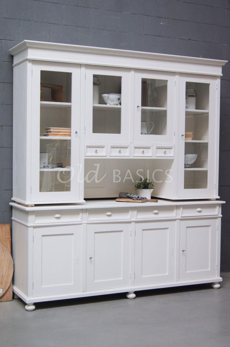 Buffetkast Petit, 4 deuren, RAL9010, wit, materiaal hout
