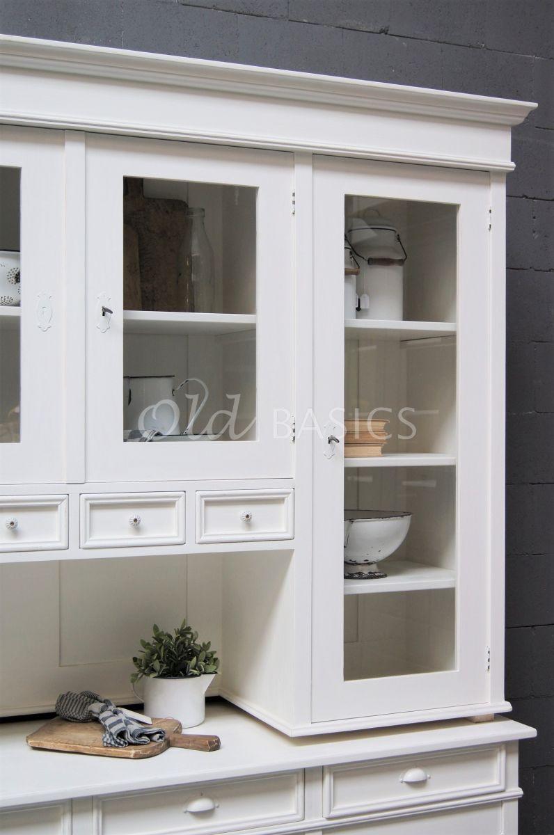 Detail van Buffetkast Petit, 4 deuren, RAL9010, wit, materiaal hout