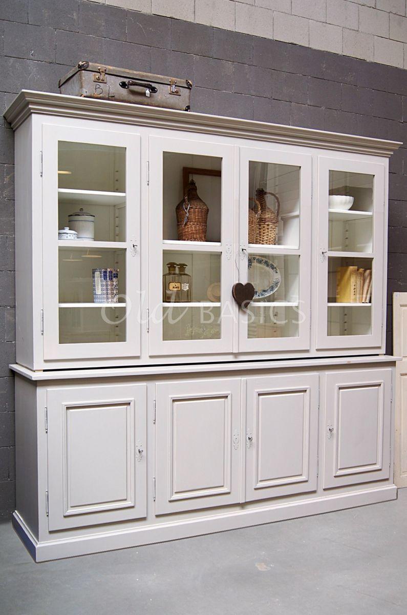 Schoolkast, 4 deuren, RAL7044, grijs, materiaal hout