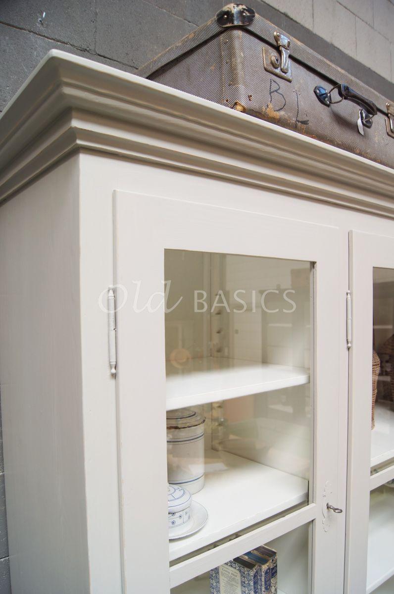 Detail van Schoolkast, 4 deuren, RAL7044, grijs, materiaal hout