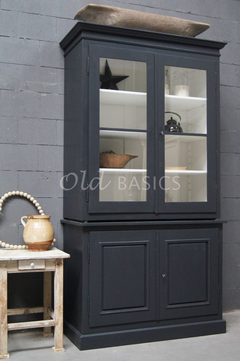 Schoolkast, 2 deuren, RAL7021, zwart, grijs, materiaal hout