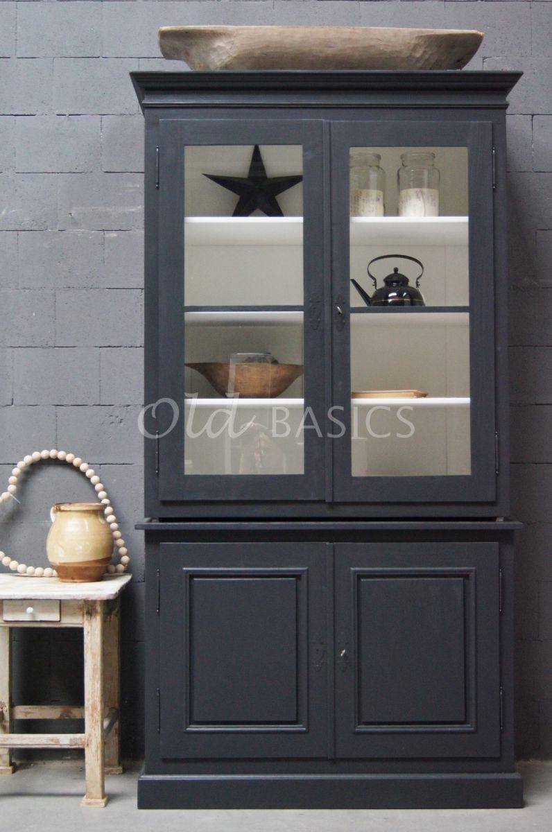 Detail van Schoolkast, 2 deuren, RAL7021, zwart, grijs, materiaal hout