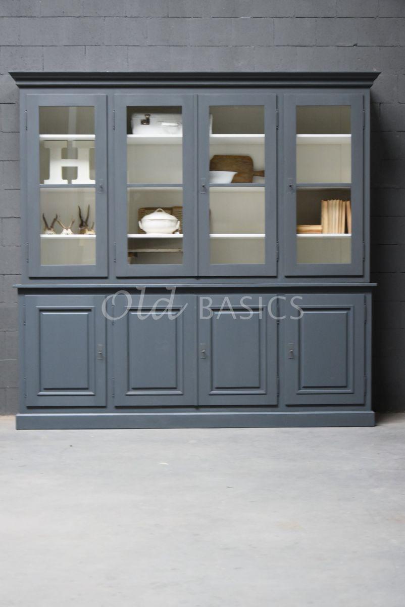 Detail van Schoolkast, 4 deuren, RAL7011, grijs, materiaal hout