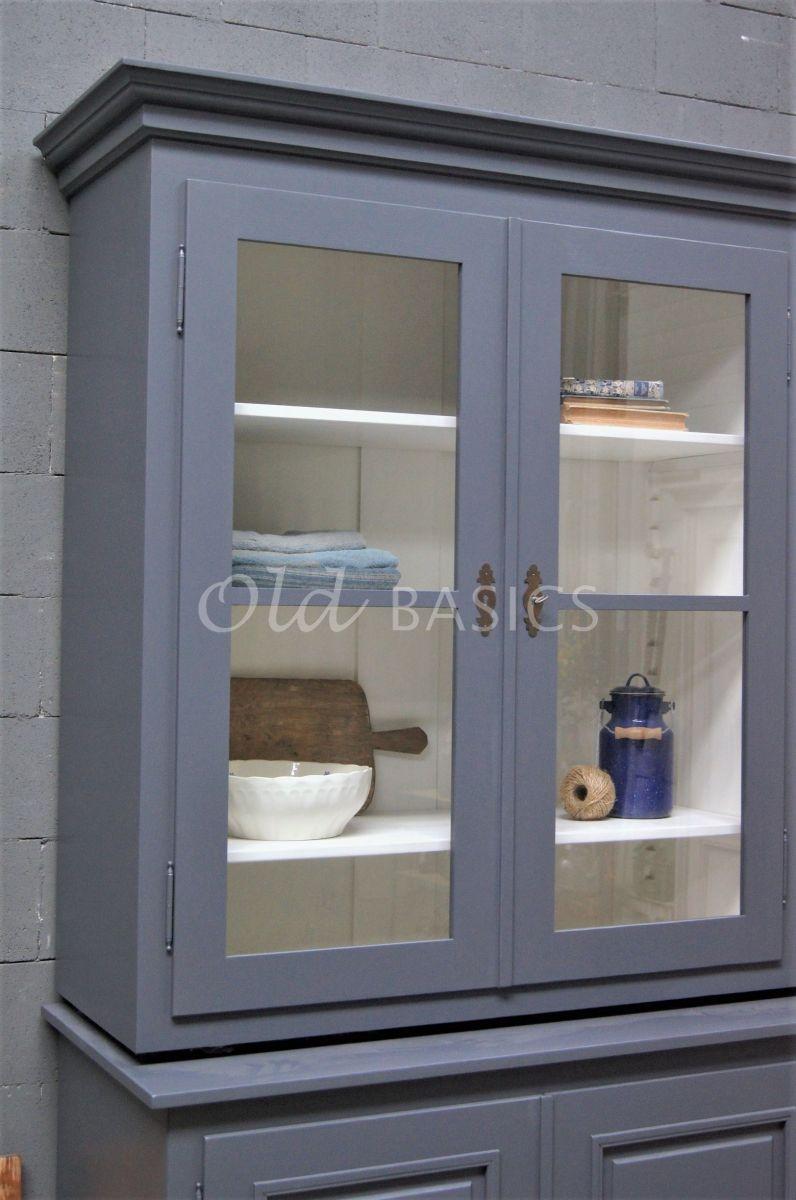 Detail van Schoolkast, 3 deuren, RAL7015, grijs, materiaal hout