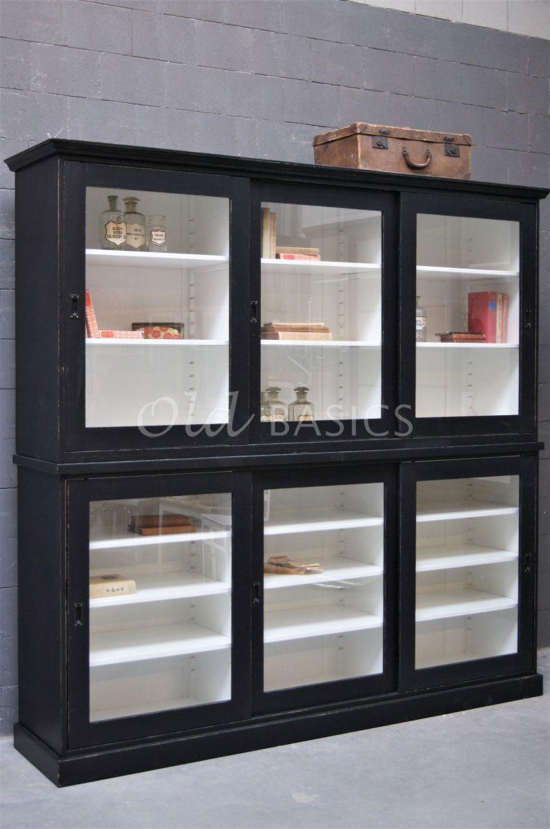 Universiteitskast, 3 deuren, RAL9005, zwart, materiaal hout