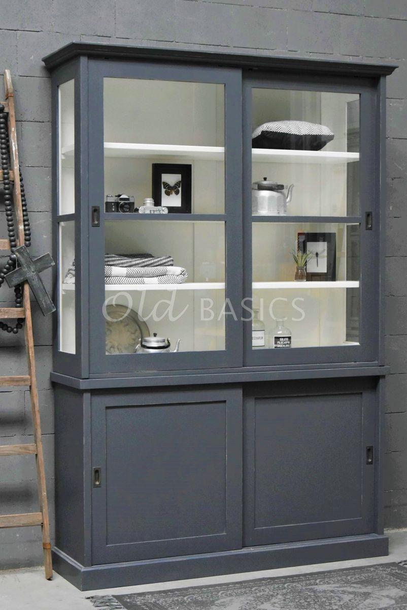 Universiteitskast, 2 deuren, RAL7024, grijs, materiaal hout