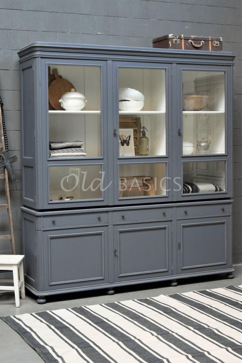 Vitrinekast Amiens, 3 deuren, RAL7015, grijs, blauw, materiaal hout