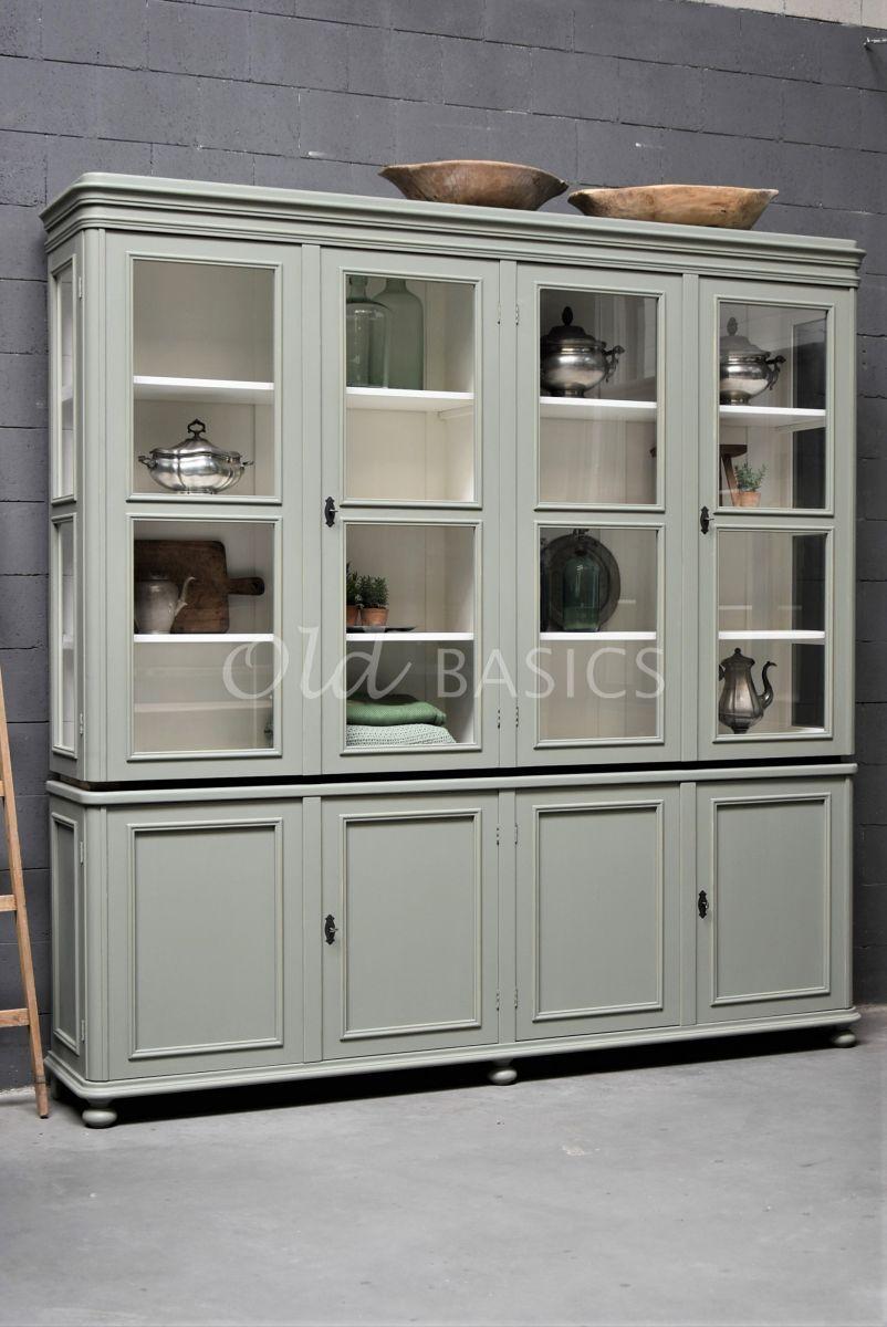 Vitrinekast Amiens, 4 deuren, RAL7033, groen, grijs, materiaal hout