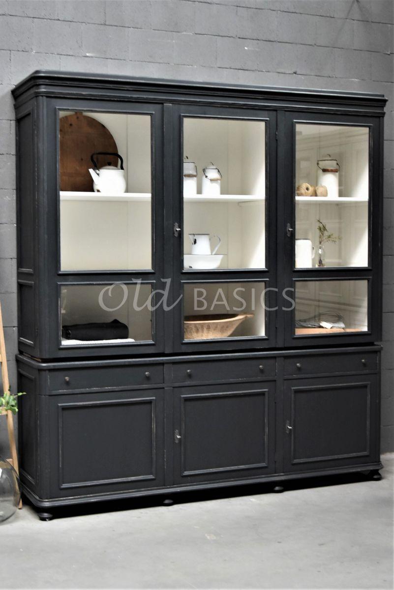 Vitrinekast Amiens, 3 deuren, RAL7021, zwart, grijs, materiaal hout