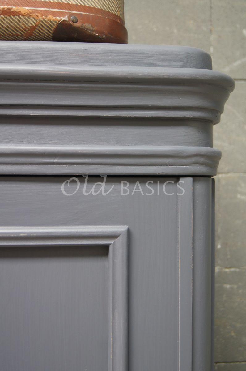Detail van Linnenkast Amiens, 2 deuren, RAL7015, blauw, grijs, materiaal hout