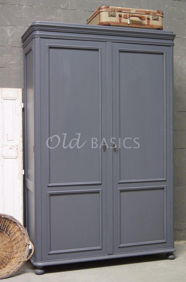 Linnenkast Amiens, 2 deuren, RAL7015, blauw, grijs, materiaal hout