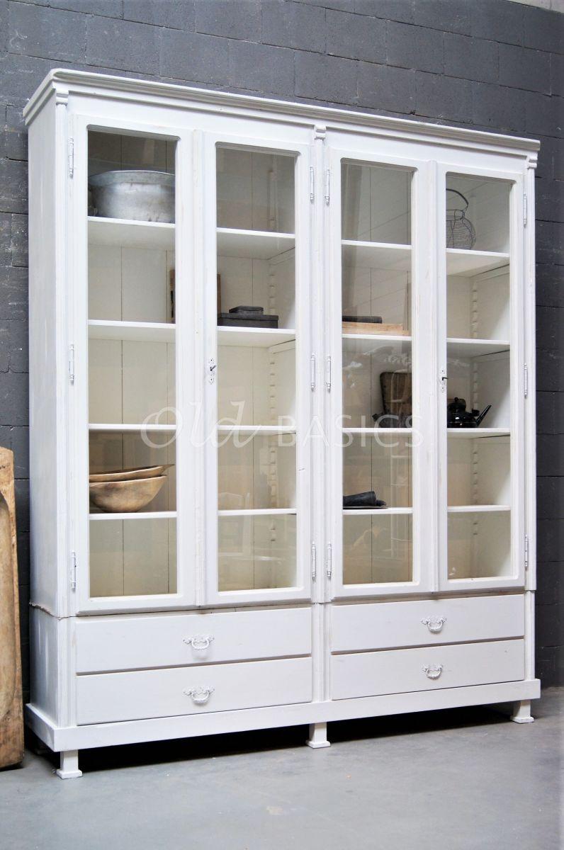 Vitrinekast Artistique, 4 deuren, RAL9010, wit, grijs, materiaal hout