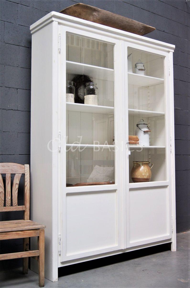 Vitrinekast Artistique, 2 deuren, RAL9010, wit, materiaal hout