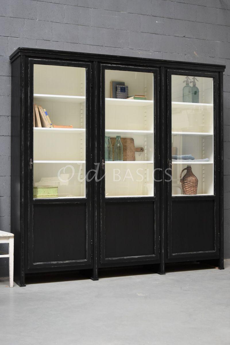 Vitrinekast Artistique, 3 deuren, RAL9005, zwart, materiaal hout