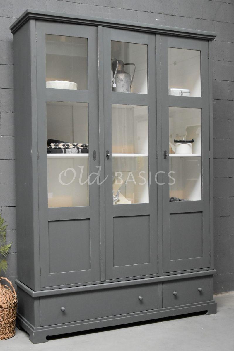 Vitrinekast Avignon, 3 deuren, RAL7043, grijs, materiaal hout