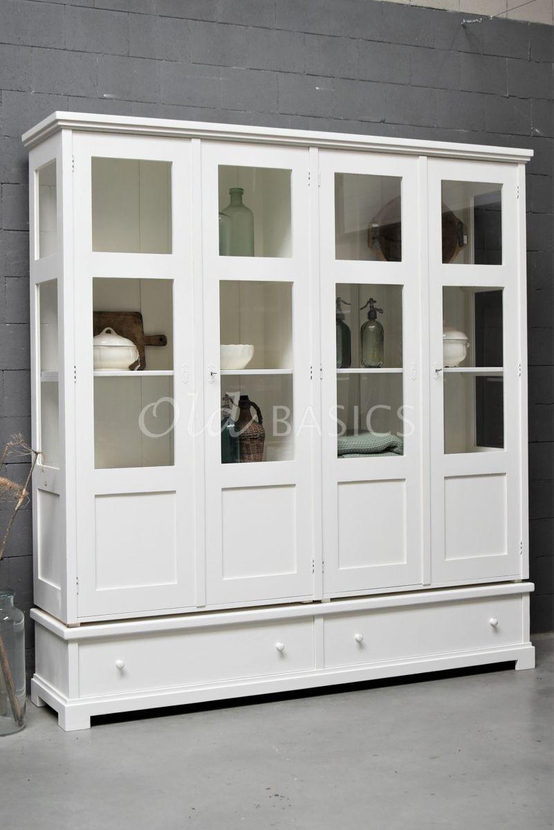 Vitrinekast Avignon, 4 deuren, RAL9010, wit, materiaal hout