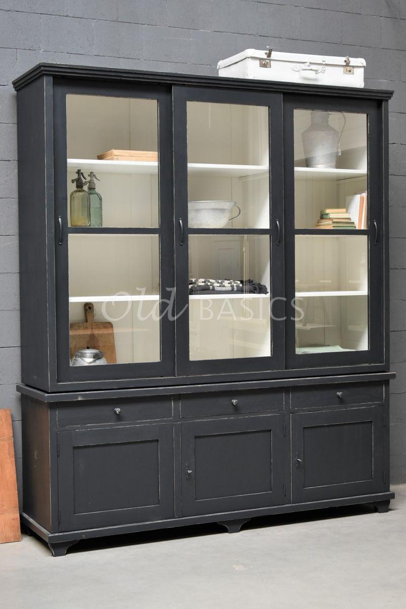 Vitrinekast Bordeaux, 3 deuren, RAL7021, zwart, grijs, materiaal hout