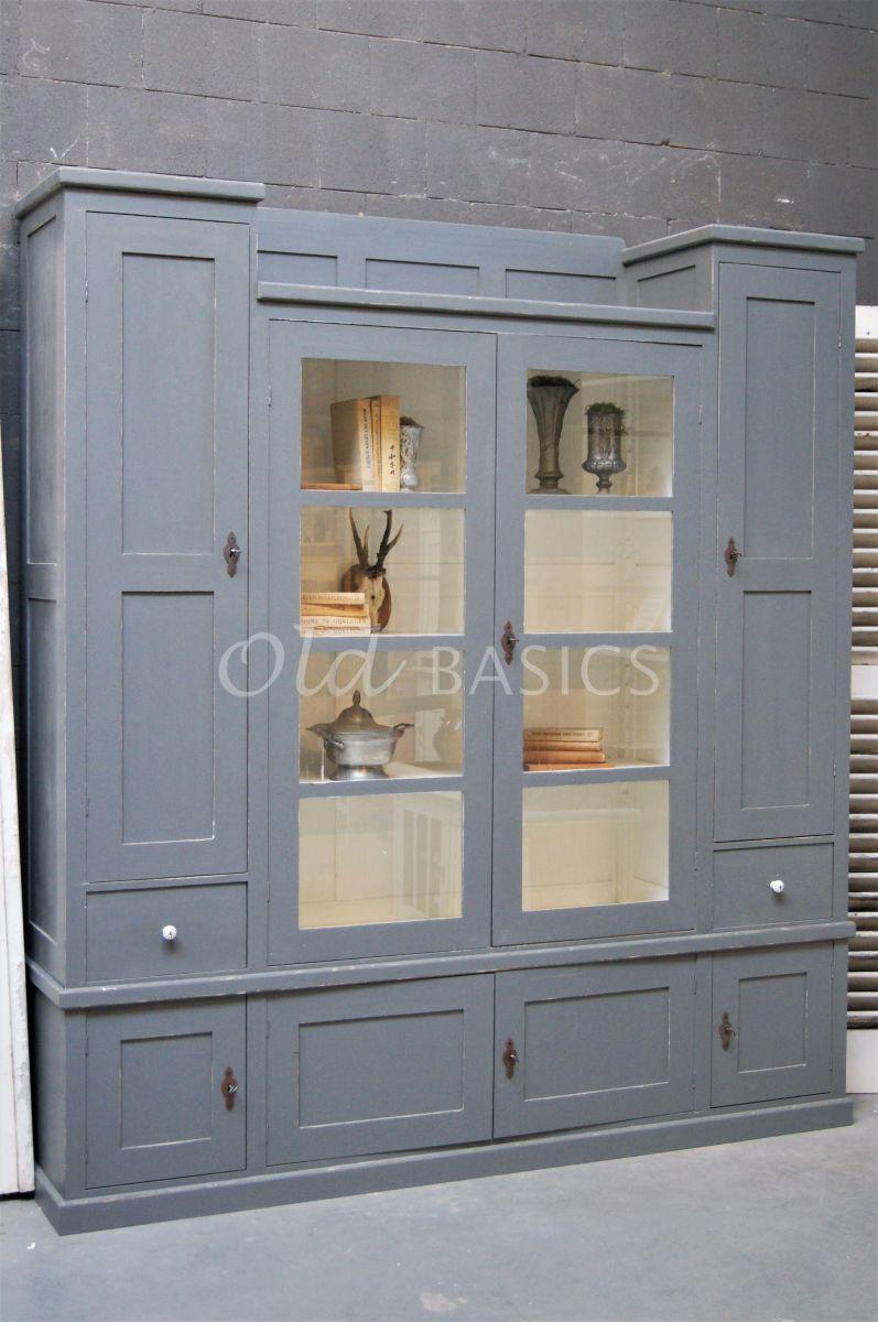 Vitrinekast Bretagne, 4 deuren, RAL7005, grijs, materiaal hout