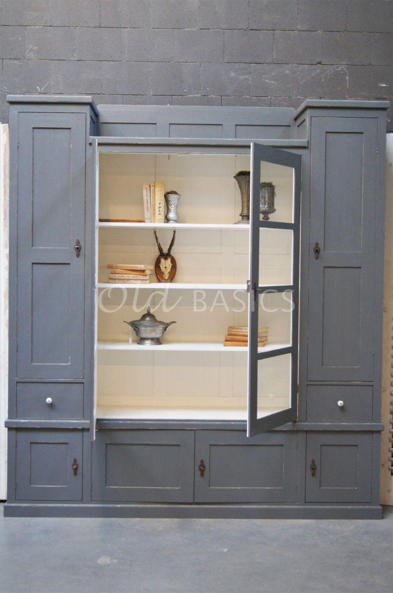 Detail van Vitrinekast Bretagne, 4 deuren, RAL7005, grijs, materiaal hout