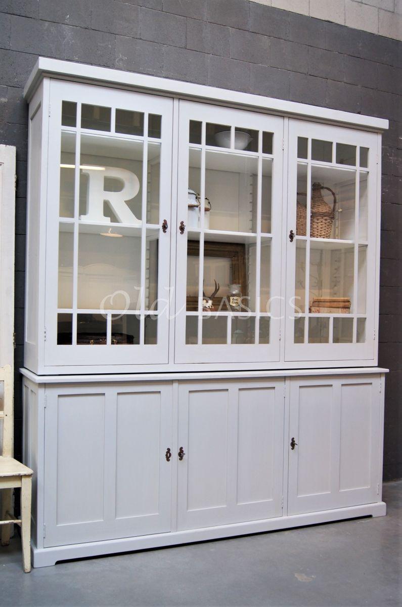 Vitrinekast Des Boites, 3 deuren, RAL7035, grijs, materiaal hout