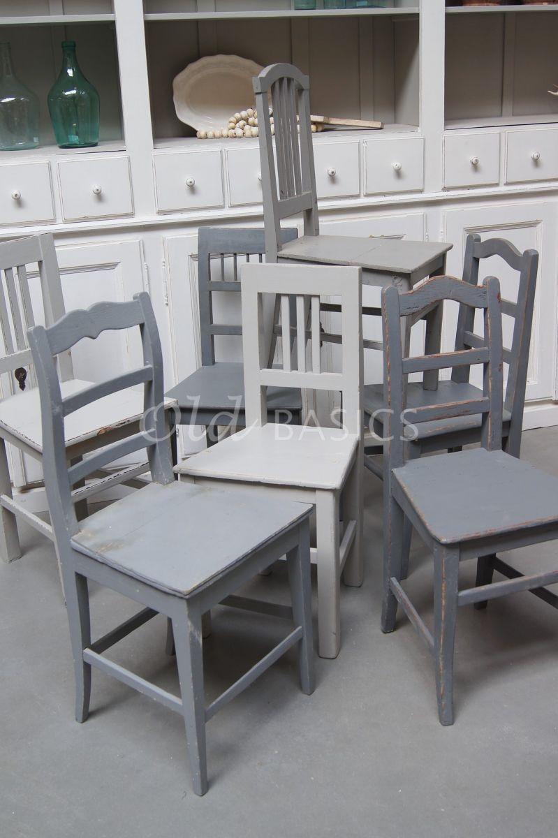 Houten stoel, grijs, materiaal hout