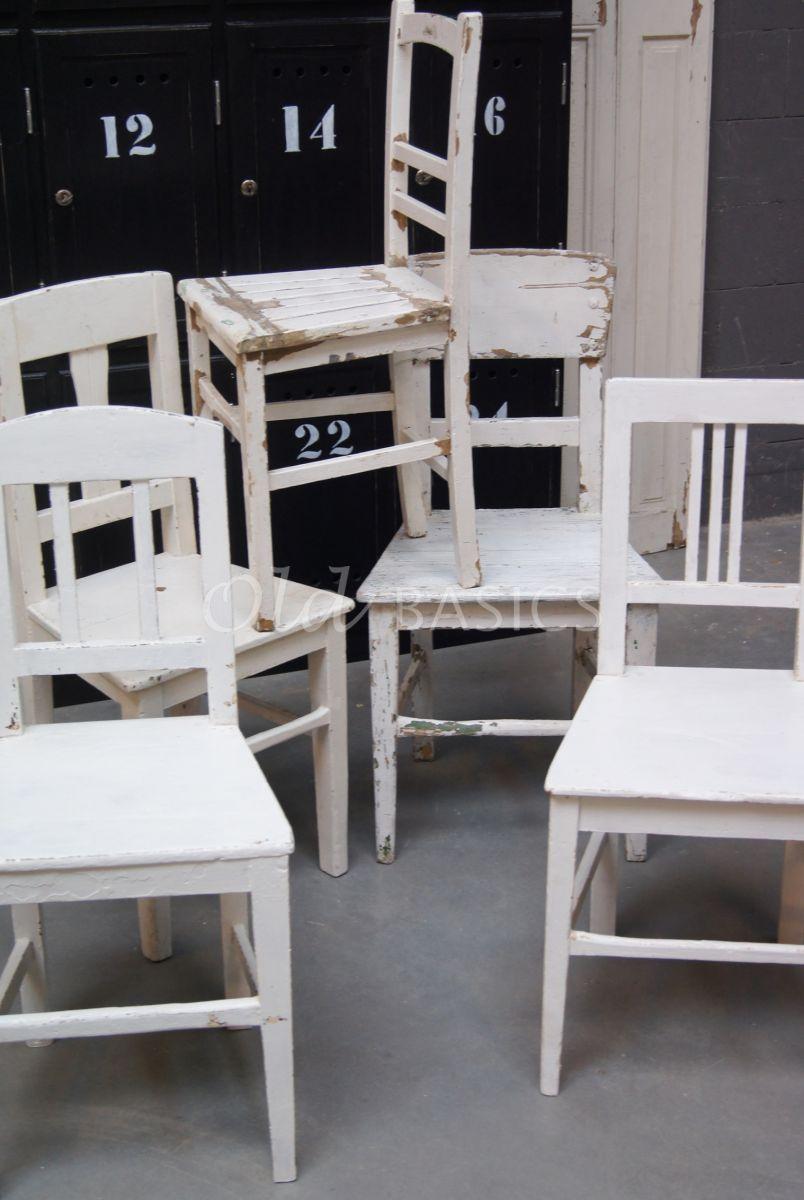 Detail van Houten stoel, wit, materiaal hout