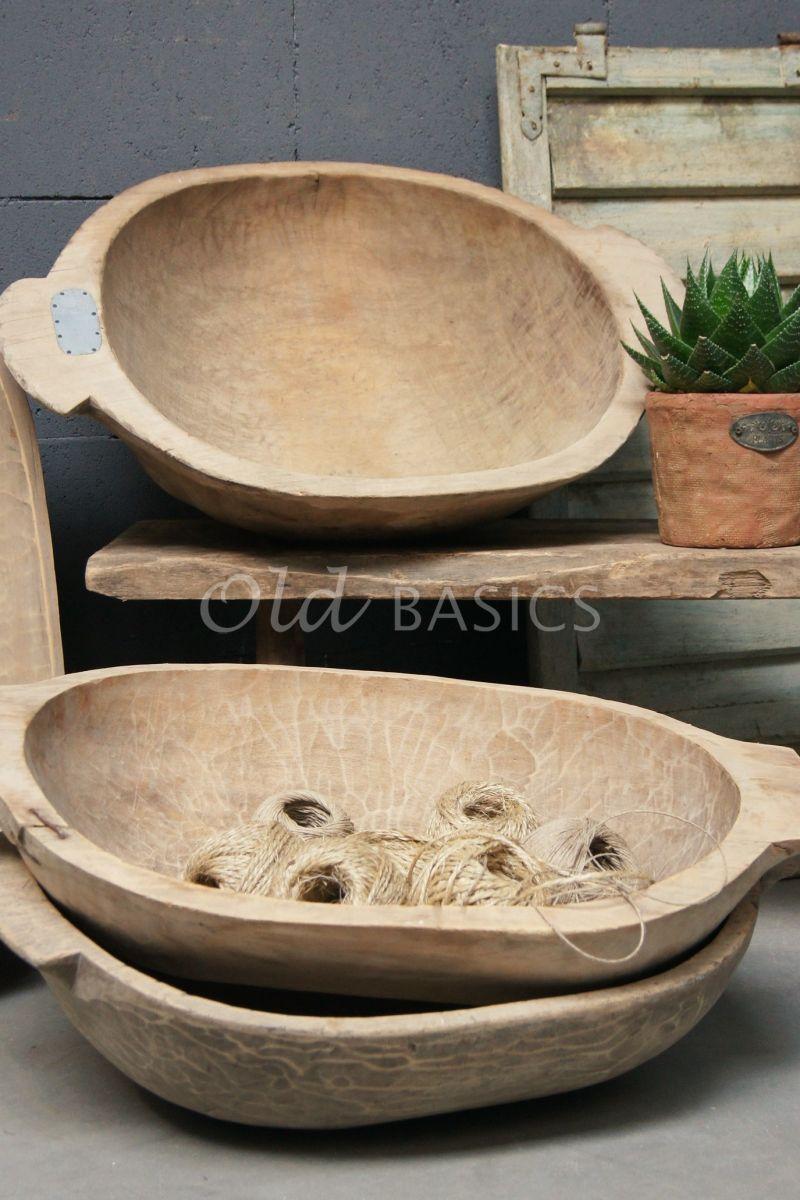 Detail van Houten trog, naturel, materiaal hout