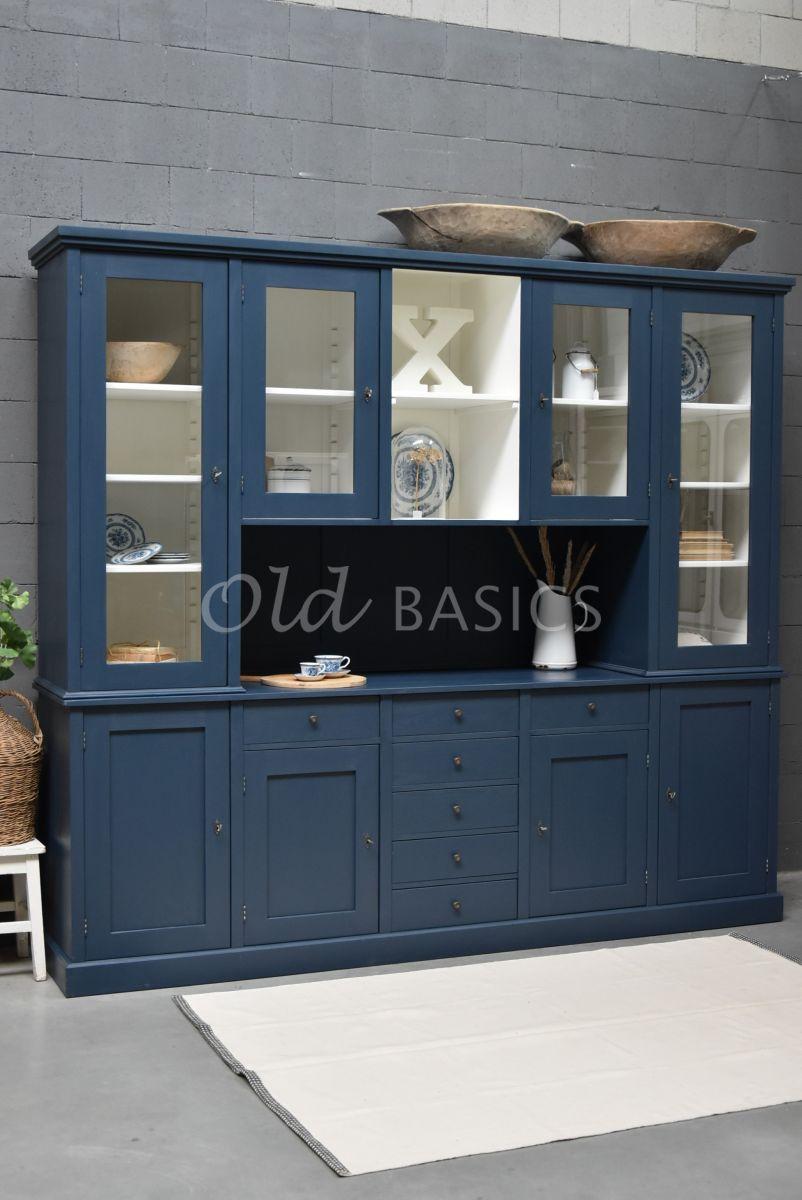 Buffetkast Grand, 4 deuren, RAL5008, blauw, materiaal hout