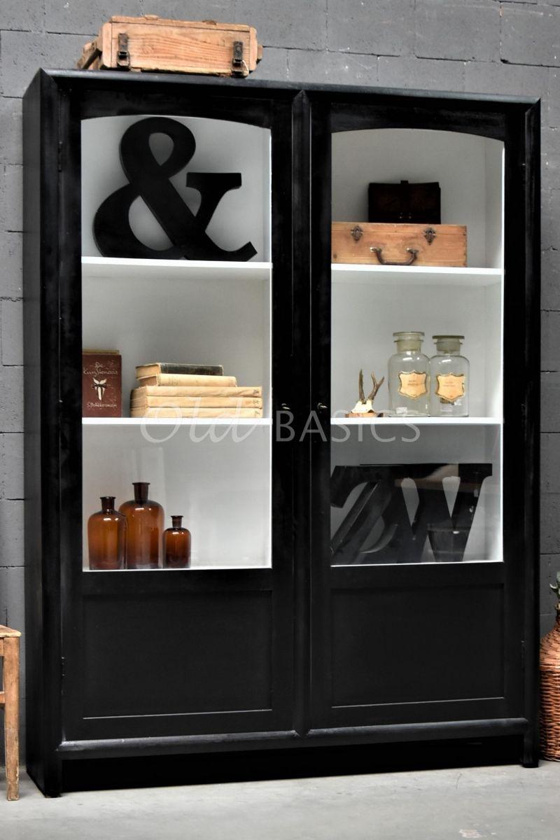 Vitrinekast Isa Zwart, zwart, materiaal hout