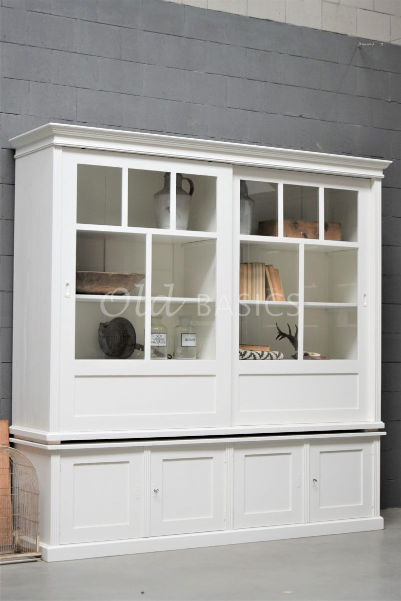 Vitrinekast Fabienne, 2 deuren, RAL9010, wit, materiaal hout