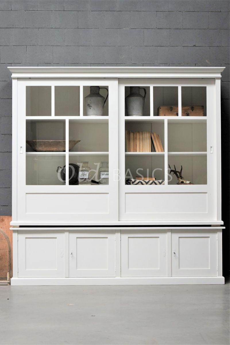 Detail van Vitrinekast Fabienne, 2 deuren, RAL9010, wit, materiaal hout