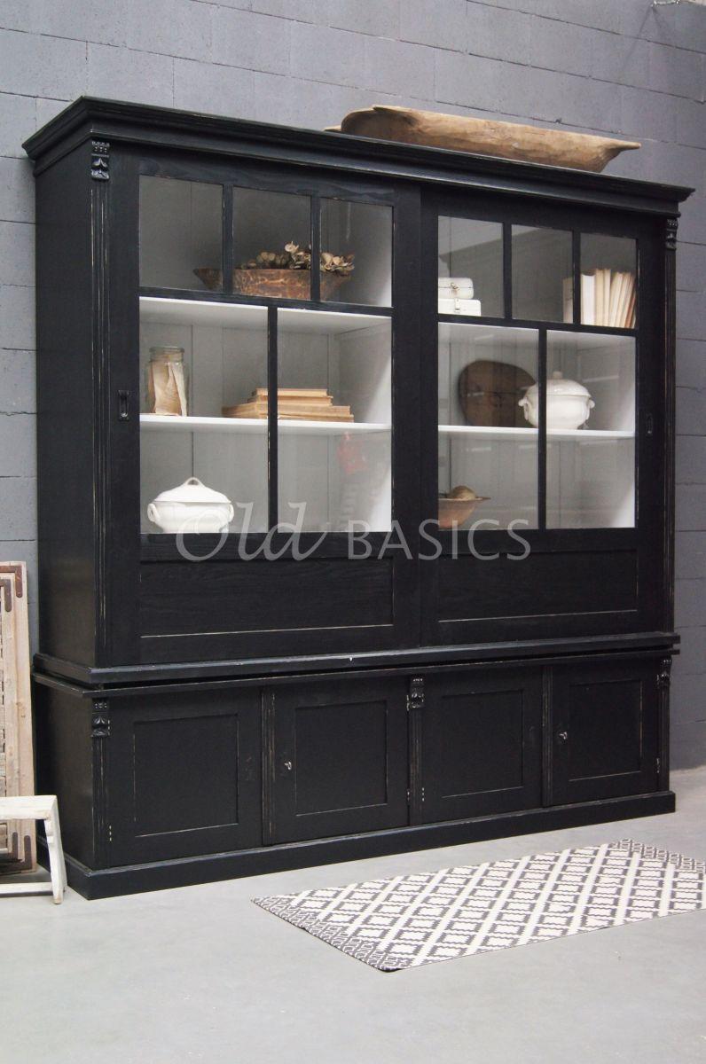 Vitrinekast Fabienne, 2 deuren, RAL9005, zwart, materiaal hout