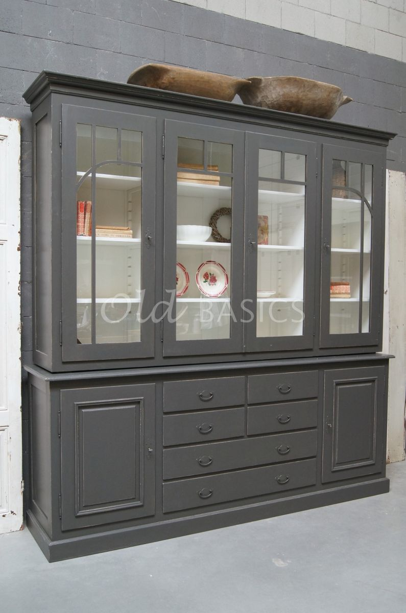 Vitrinekast Federica, 4 deuren, RAL7022, grijs, materiaal hout