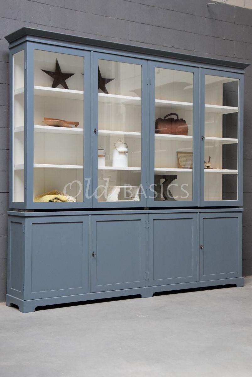 Vitrinekast Grenoble, 4 deuren, RAL7031, blauw, grijs, materiaal hout