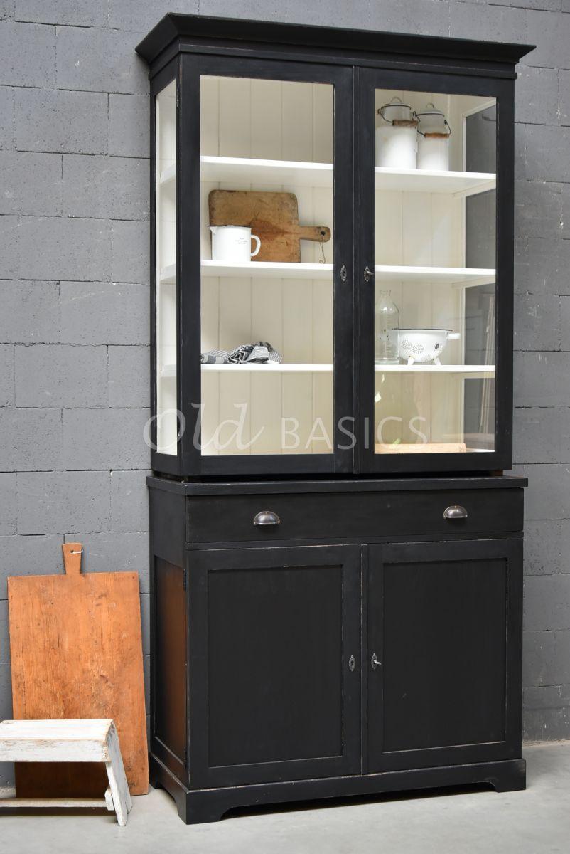 Vitrinekast Grenoble, 2 deuren, RAL9005, zwart, materiaal hout