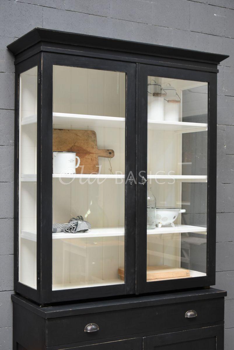 Detail van Vitrinekast Grenoble, 2 deuren, RAL9005, zwart, materiaal hout