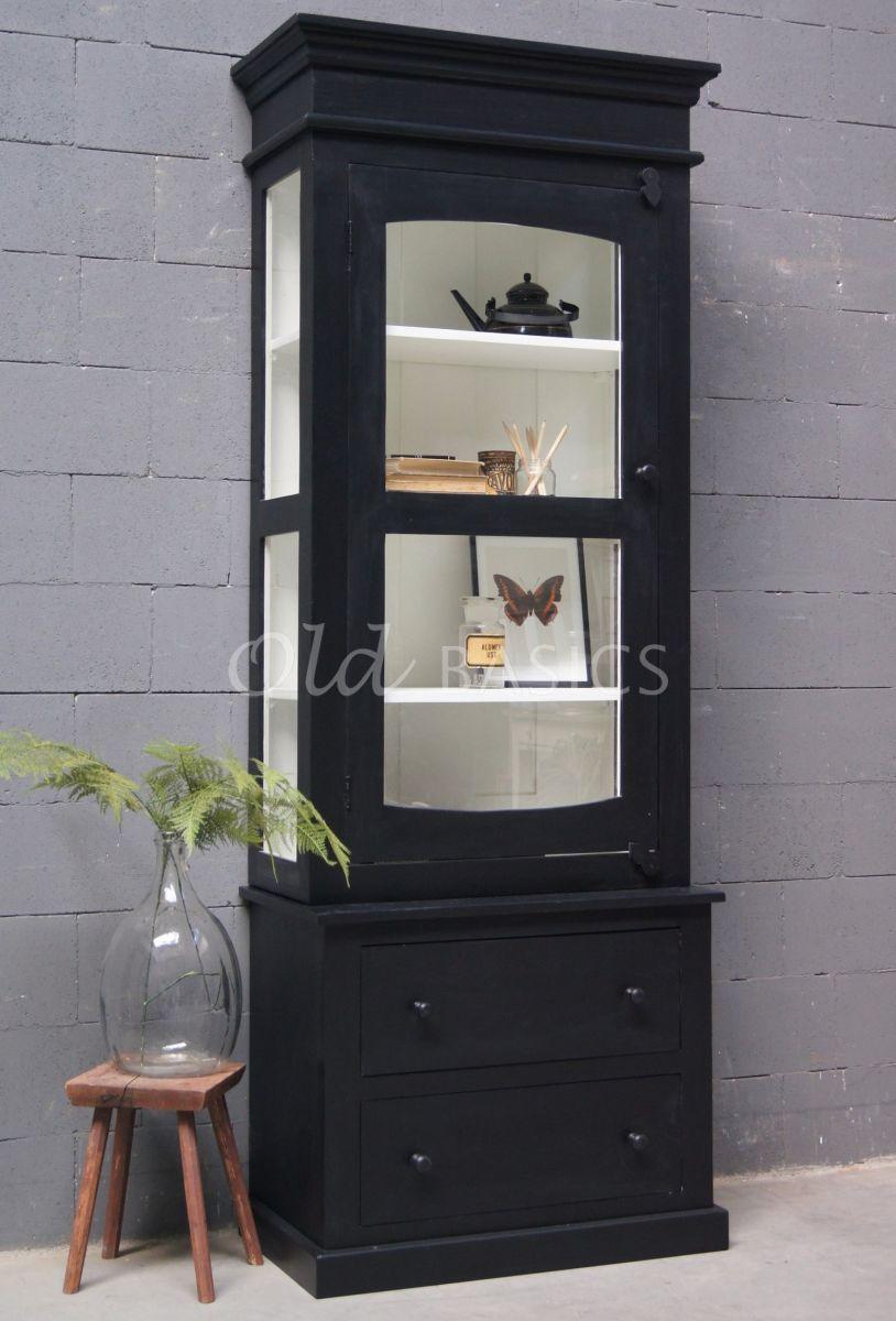 Vitrinekast Ines, zwart, materiaal hout