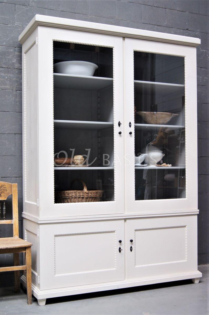 Vitrinekast Les Boules, 2 deuren, RAL9001, crème, wit, materiaal hout