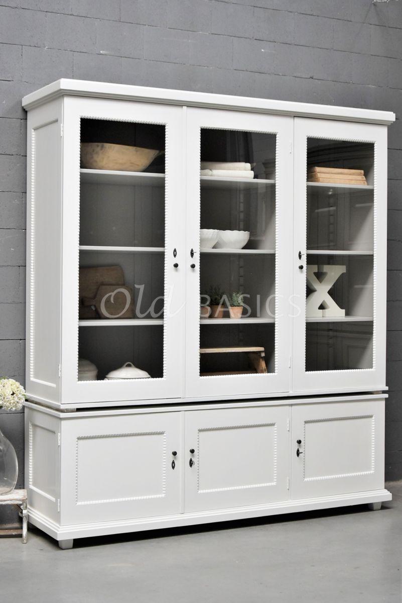 Vitrinekast Les Boules, 3 deuren, RAL9010, wit, materiaal hout