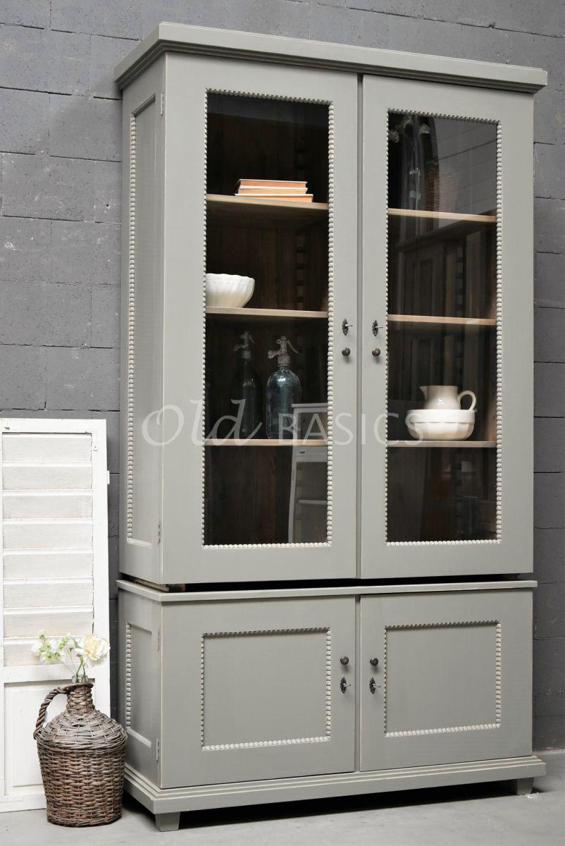 Vitrinekast Les Boules, 2 deuren, RAL7003, grijs, groen, materiaal hout