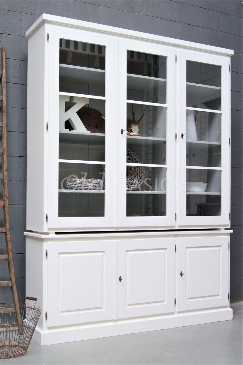 Vitrinekast Monaco, 3 deuren, RAL9010, wit, materiaal hout