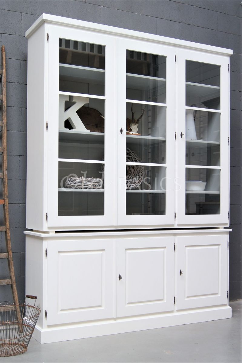 Detail van Vitrinekast Monaco, 3 deuren, RAL9010, wit, materiaal hout