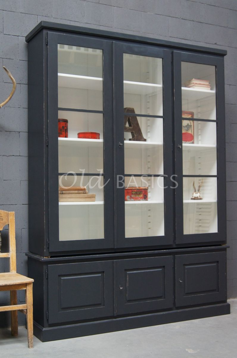 Vitrinekast Monaco, 3 deuren, RAL7021, zwart, grijs, materiaal hout
