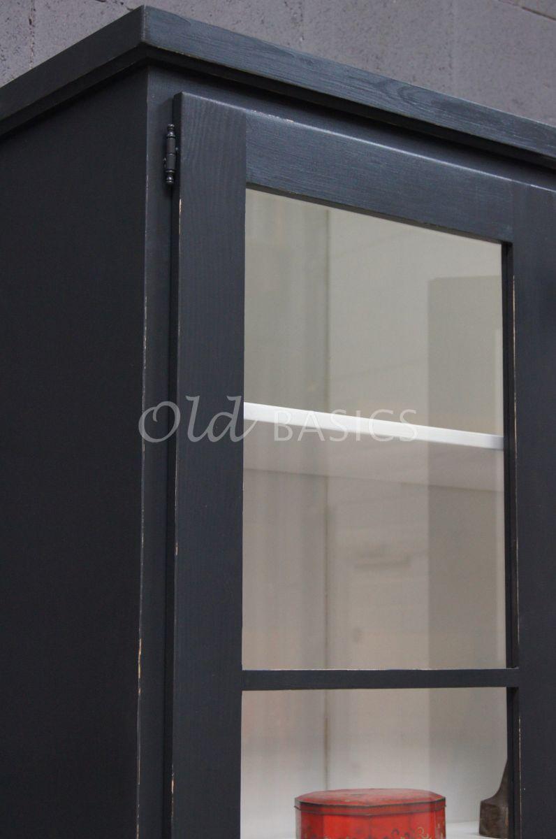 Detail van Vitrinekast Monaco, 3 deuren, RAL7021, zwart, grijs, materiaal hout