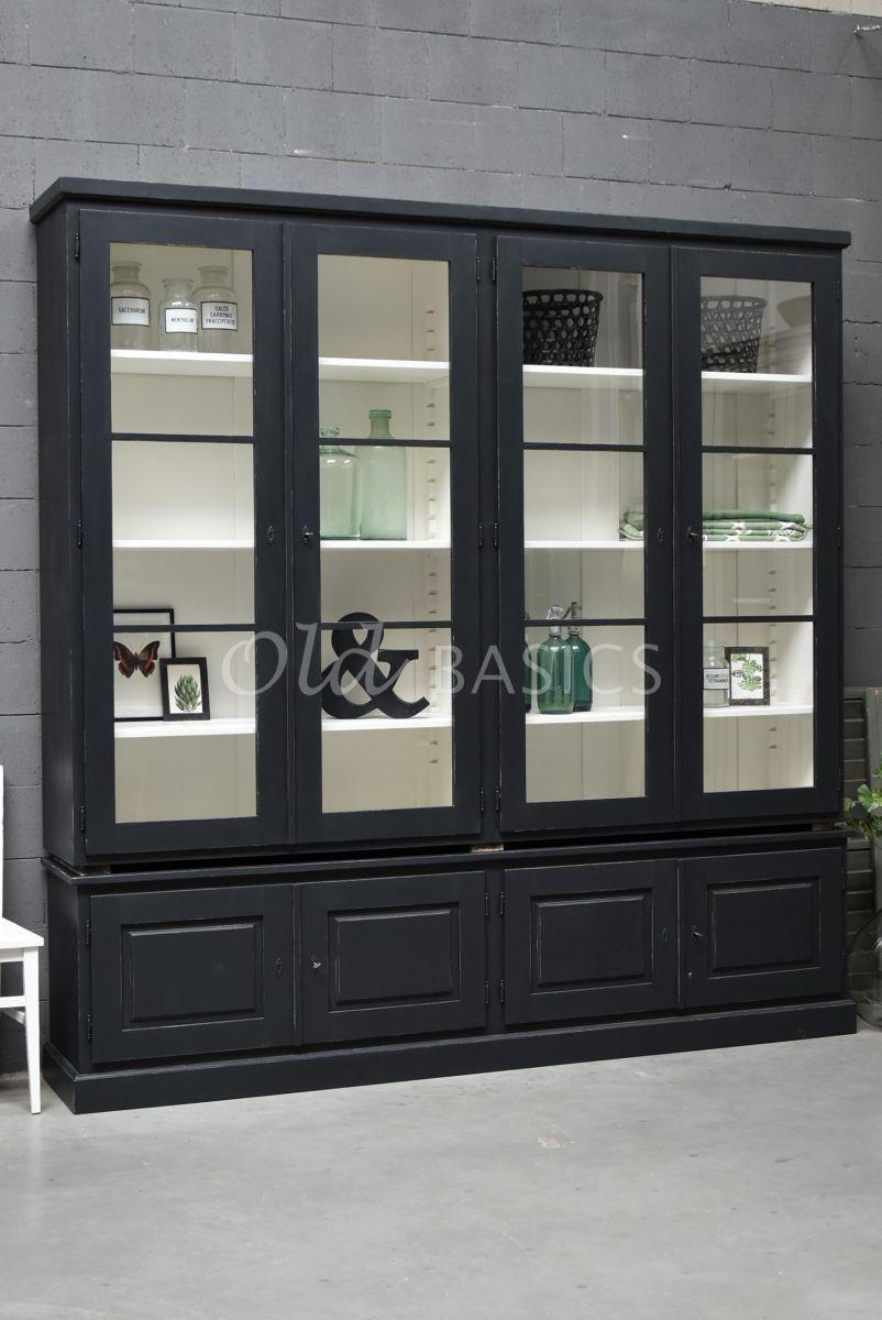 Vitrinekast Monaco, 4 deuren, RAL7021, zwart, grijs, materiaal hout