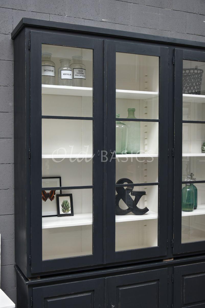 Detail van Vitrinekast Monaco, 4 deuren, RAL7021, zwart, grijs, materiaal hout